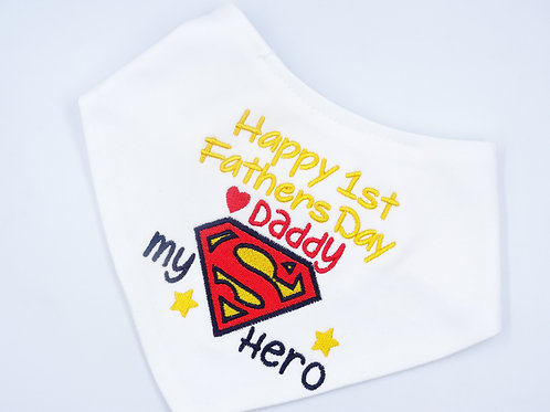 Embroidered Superman Happy 1st Fathers Day Daddy My Hero baby bib