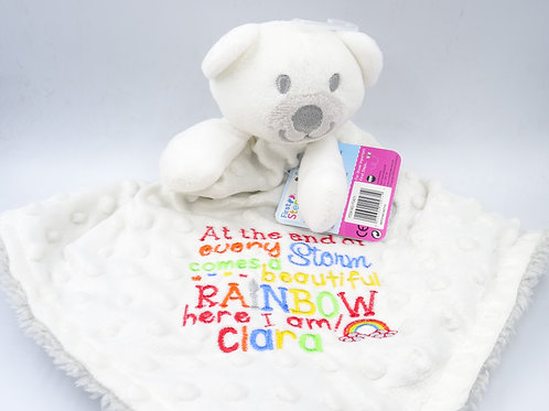 Personalised At the End of Every Storm Rainbow Baby 3D Bear Comforter