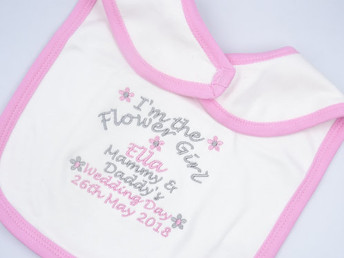 Personalised I'm the Flower Girl Wedding Day Baby Toddler Bib