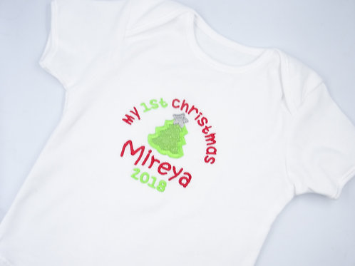 Personalised My 1st Christmas with Tree Short Sleeved Vest