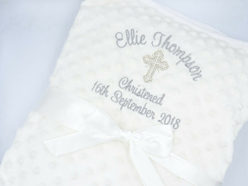 Personalised Christening Baby Blanket with Cross or Baby Feet