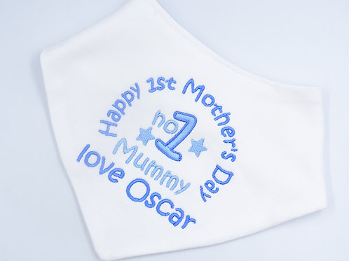 Personalised Embroidered Happy 1st Mothers Day No 1 Mummy Love Name Baby Bib