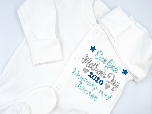 Personalised Embroidered Our First Mother's Day Mummy and Name Baby Sleepsuit