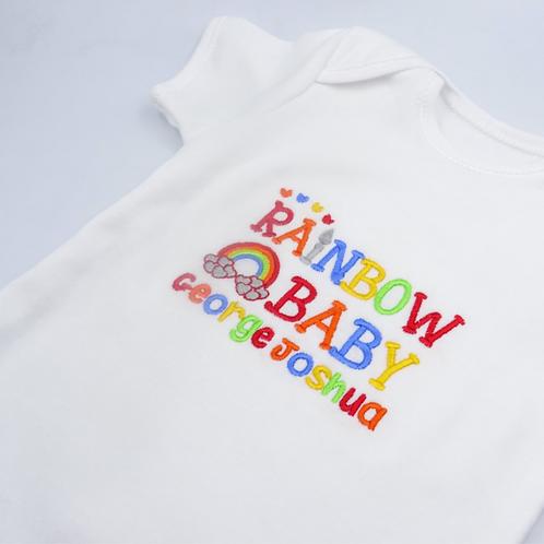 Personalised Rainbow Baby Name Short Sleeved Vest