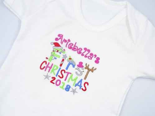 Personalised Girls Name First Christmas Short Sleeved Vest