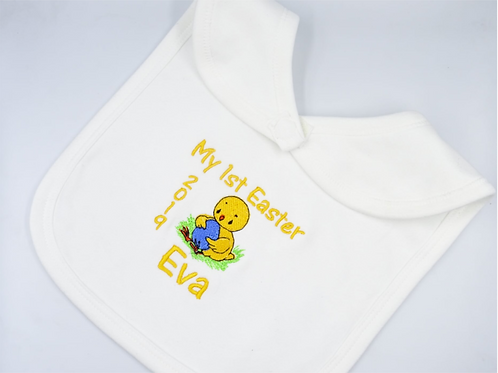 Personalised Embroidered My First Easter Chick and Egg Unisex Baby Bib