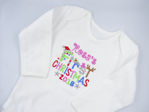 Personalised Girls Name First Christmas Long Sleeved Vest