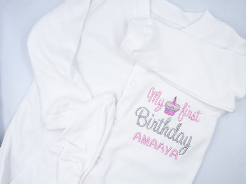Personalised It's My first Birthday With Cupcake Sleepsuit