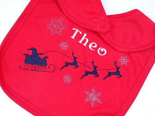 Personalised Red Santa Sleigh and Reindeers Christmas baby bib - add any name