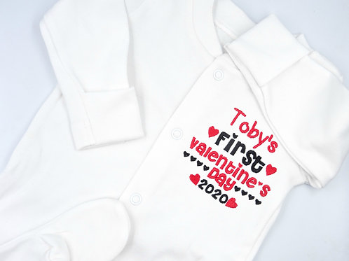 Personalised Embroidered Name's First Valentine's Day Baby Clothing Sleepsuit