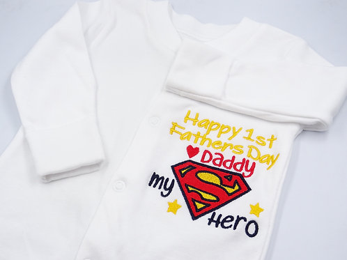 Superman Happy 1st Fathers Day Daddy Sleepsuit
