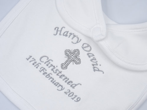 Personalised Christening Baby Bib With Cross or BabyFee