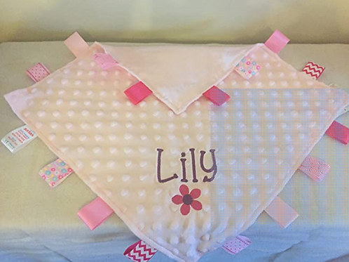 Personalised Baby Boy or Girl Dimple Blanket With Tags (Pink Dimple)