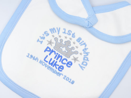 Personalised It's My 1st Birthday Prince Bib