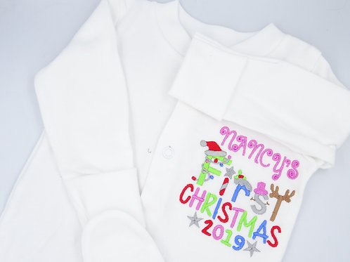 Personalised Girls Name First Christmas Sleepsuit