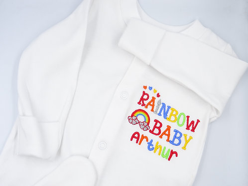 Personalised Rainbow Baby Name Sleepsuit - Add Any Name