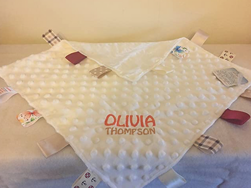 Personalised Baby Boy or Girl Dimple Blanket With Tags (Cream)