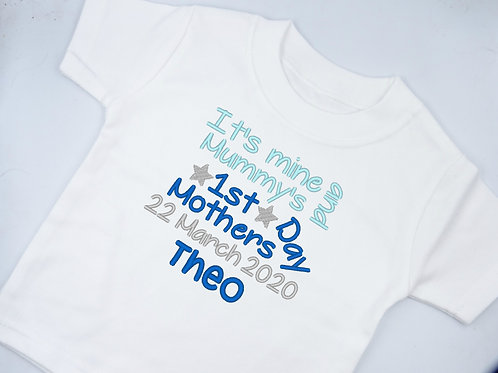 Personalised Embroidered It's Mine and Mummy's Mother's Day T-Shirt