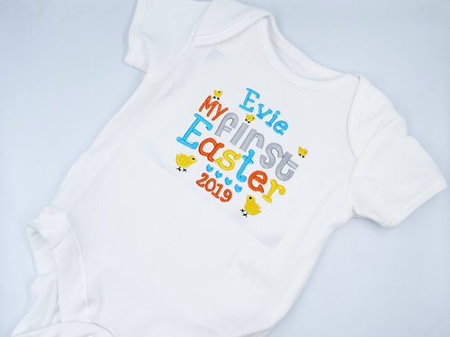 Personalised Embroidered My First Easter Unisex Baby short sleeved vest