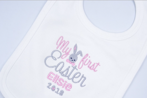 Personalised Embroidered My First Easter Boys Baby Clothing -Bib