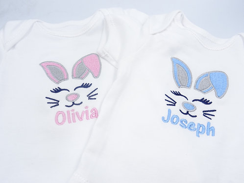 Personalised Embroidered Easter Bunny Baby short sleeved vest