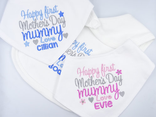 Personalised Embroidered Happy First Mother's Day Mummy Love Name Baby Bib