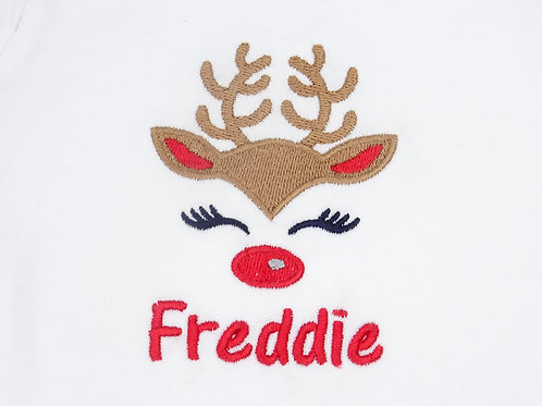 Personalised Reindeer Name Sleepsuits