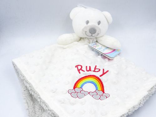 Personalised Rainbow Motif and Name Baby 3D Bear Comforter