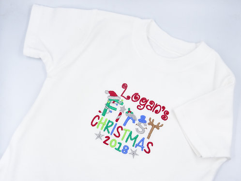 Personalised Boys Name First Christmas Short Sleeved Vest