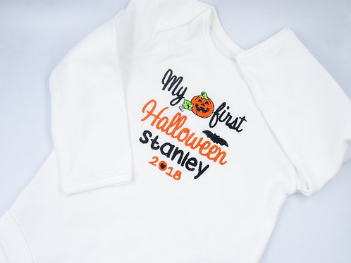 Personalised My First Halloween with Pumpkin Long Sleeved Vests