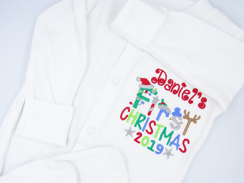 Personalised Boys Name First Christmas Sleepsuit