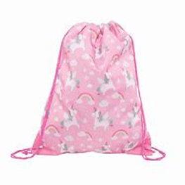 Personalised Embroidered Drawstring Bag - Rainbow Unicorns - Add Name