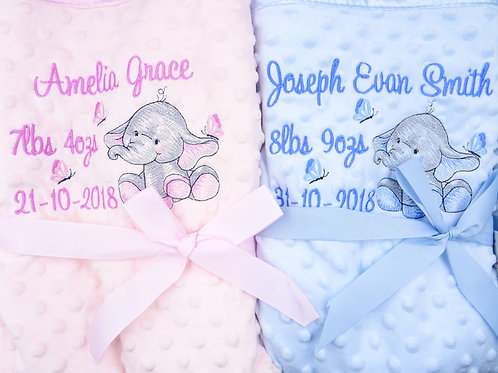 Personalised Elephant Blanket- Add Any Name and Details