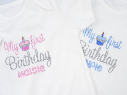 Personalised It's My first Birthday With Cupcake Short Sleeved Vest