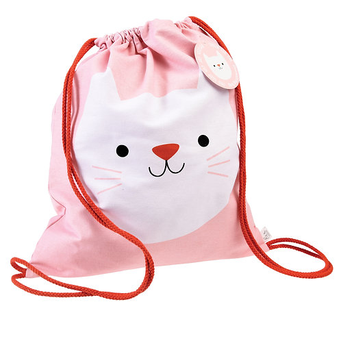 Personalised Embroidered Drawstring Bag - Cookie the Cat - Add Name
