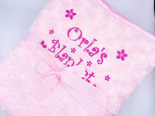 Personalised Embroidered Name's Blanket with Flowers - Add Any Name