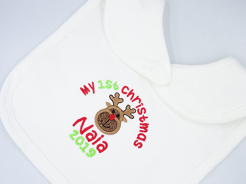 Personalised My 1st Christmas with Reindeer Applique baby bib - add name & year