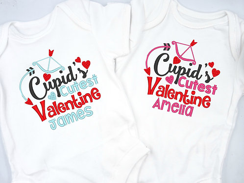 Personalised Embroidered Cupids Cutest Valentine Baby Short Sleeved Vest