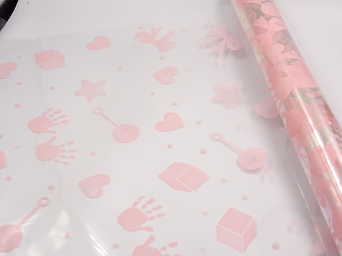 Pink Baby Cellophane Gift Wrap and Ribbon