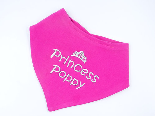 Personalised Embroidered Bandana Bib Cerise Pink Princess with Tiara Design