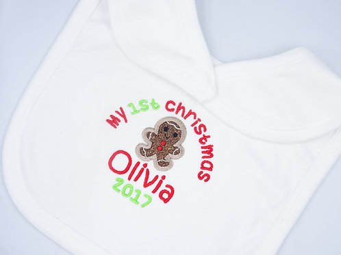 Personalised My 1st Christmas with Gingerbread Man Bib