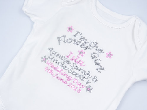 Personalised I'm the Flower Girl Wedding Day Short Sleeved Vest