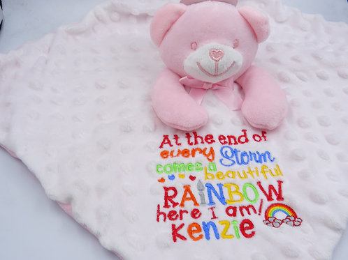 Personalised At The End Of Every Storm Rainbow Baby Comforter
