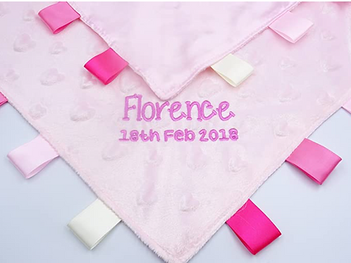 Personalised Baby Comforter/Security Blanket With Tags (Pink Heart Dimple)