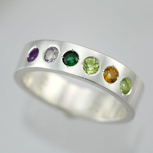 6 Stone Mother's Ring 6mm in Sterling Silver