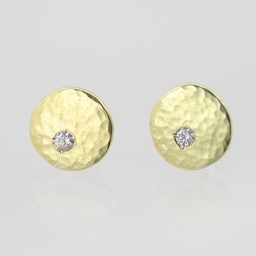 Hammered Chunk Studs with Diamond in 14ky Gold, small