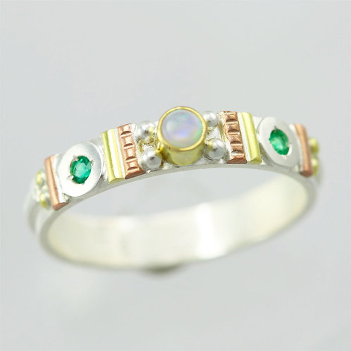 Totem Stacking Ring with Opal & Emerald