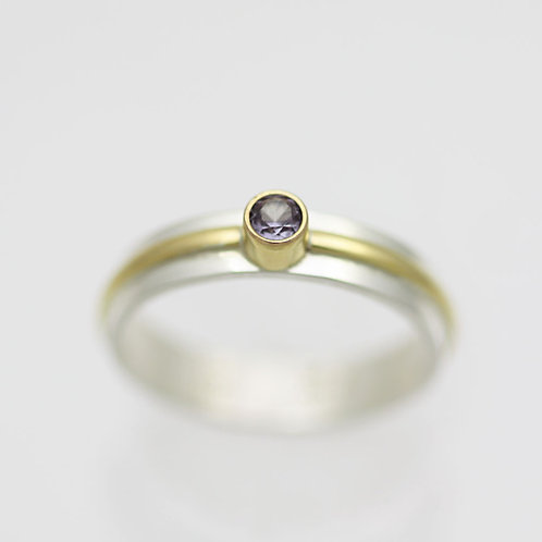 1 Stone Wrap Ring with 3mm Birthstone in sterling silver and 14ky