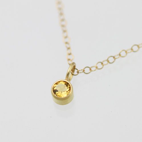 Citrine Drop Necklace 4mm in 14ky Gold