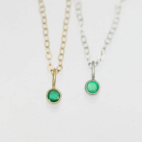 Emerald Drop Necklace 3mm in 14k Gold